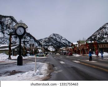 Frisco, Colorado/USA - February 24, 2019: Town of Frisco Main Street View Shops Winter Mountains