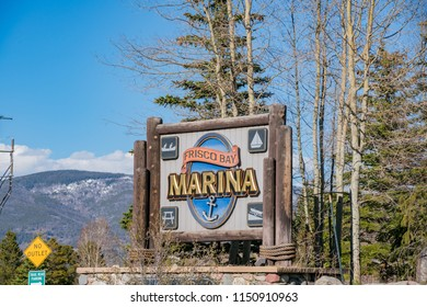 Frisco, MAY 4: Entrance sign of Frisco Bay Marina on MAY 4, 2017 at Frisco, Colorado