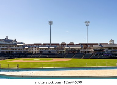 Frisco, Texas, March 14, 2019: The Dr Pepper Ballpark is recognized as one of the best ballparks in Minor League Baseball in USA. The stadium has many amenities and  features for the baseball fan.