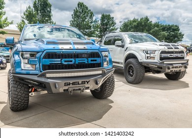 Frisco, Texas USA , TEXAS - June 07, 2019: Media Day at Auto Nation Ford. Two Ford Shelby Raptor Pickup Trucks