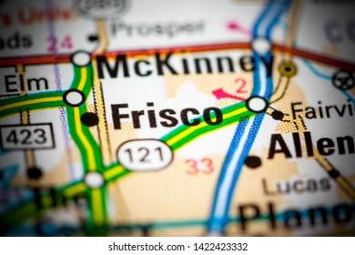 Frisco. Texas. USA on a map