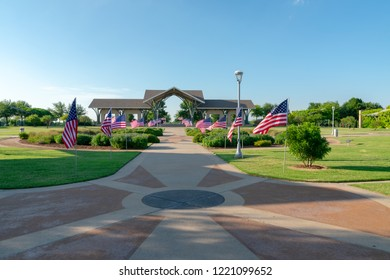 Frisco, Texas/USA - May 26 2018: Flags fly at Frisco Commons Park for Memorial Day, 2018