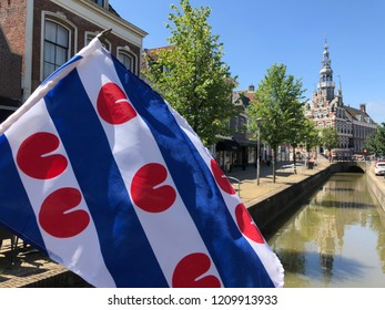 Frisian flag in front of the city hall of Franeker in Friesland The Netherlands