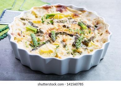 frittata ot tortilla with  green asparagus