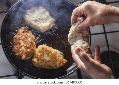 fritters fry on frying pan