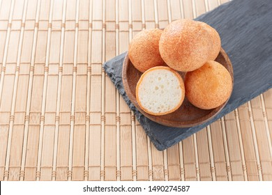 Fritters on the table, typical Colombian food, close-up image