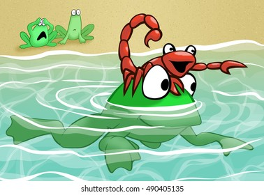 The frog carrying the scorpion across the river while his friends watch in terror from the shore.