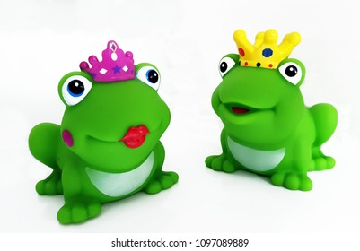 Frog King and queen on white background