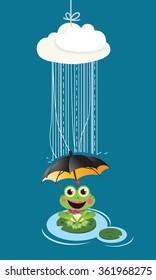 Frog in rain with umbrella