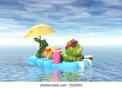 A frog relaxing on a raft in the middle of the ocean