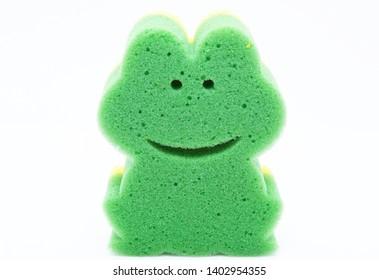 Frog sponge dishwasher isolated on white background