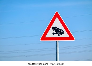 Frogs crossing the road warning sign against blue sky