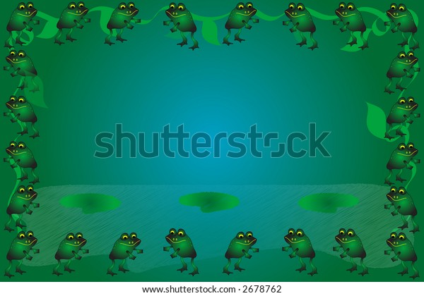 Frogs, leaves and vines frame a gradient blue green background.