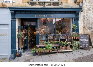Frome, Somerset. October 2019. Independent florist Bramble and Wild, situated on a steep gradient on Catherine Hill in Frome town centre.