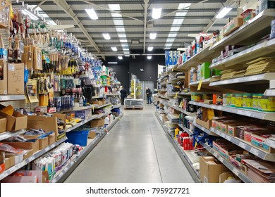 Frome, UK - January 17, 2018: Aisle view in a Homebase store. The British home improvement, DIY and garden retailer operates 228 stores in the UK with a revenue of £1.49 billion for the year 2013-14.