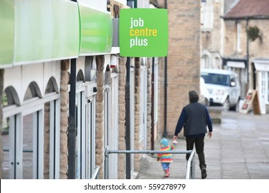 Frome, UK - January 5, 2017: Exterior view of a Jobcentre Plus. Jobcentre Plus functions as the UK government's employment office adminstering unemployment benefit and placing workers in vacancies.