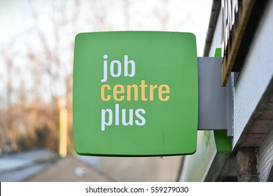 Frome, UK - January 5, 2017: View of a Jobcentre Plus sign. Jobcentre Plus functions as the UK government's employment office adminstering unemployment benefit and placing workers in vacancies.