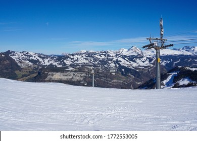 Fronalpstock, Stoos, Switzerland - February 22 2020: A lift at the ski resort on the Fronalpstock. It is a mountain in the Swiss Alps in the canton Schwyz.