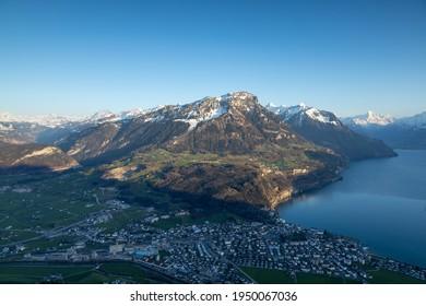 Fronalpstock Swiss Mountain, view above Brunnen and Vierwaldstaettersee
