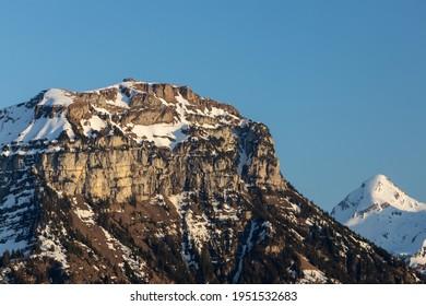 Fronalpstock Swiss Mountain, view from lake site