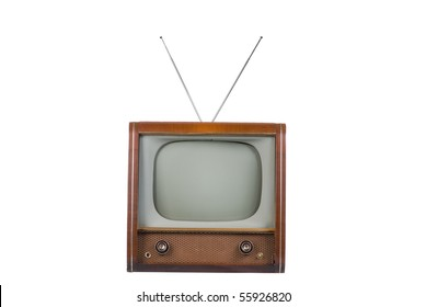 Front of 1960's old television on a white background
