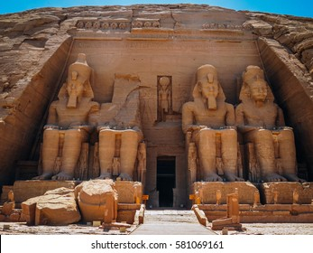 The Front of the Abu Simbel Temple, Aswan, Egypt.