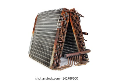 The front angle of an old A-frame evaporator coil taken from a 2.5-ton residential r22 straight capillary system.