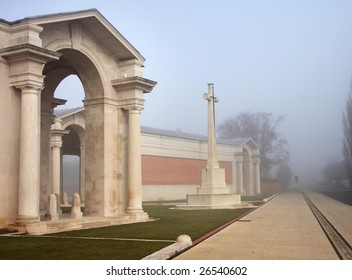 Front of the Arras World War One War Memorial in Northern France in morning mist