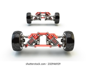 Front axle with suspension and sport gas absorbers isolated on white