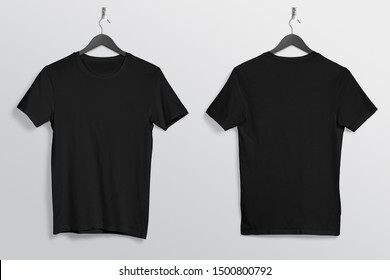front back of black crew neck plan t shirt hanging on wall