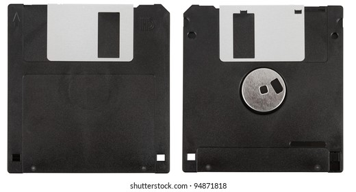 Front and back of a black floppy disk over a white background