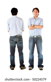 Front and back of a casual man standing isolated over white