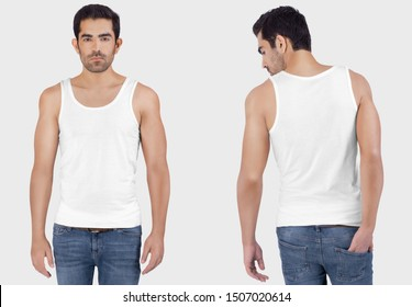 Front and back close-up view of male model wearing plan white tank top shirt in blue denim jeans pant