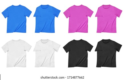 Front & back of four blank t-shirts pink blue black and white Ready for your design or logo.