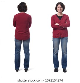 front and back full portrait of a woman, arms crossed