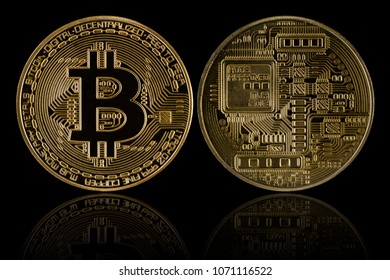 Front and back of golden Bitcoin on black background .Bitcoin is a major currency. of  cryptocurrency. .Include clipping path.