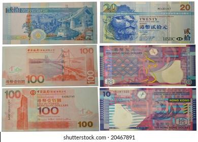 A front and back of Hong Kong banknotes