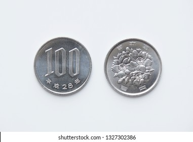 The front and back of the Japan 100 yen coin.