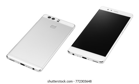 Front and back new mobile smart phone isolated on the white background with clipping path