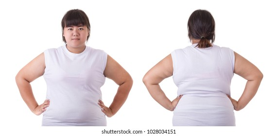 Front and back portrait of fat asian woman wear white t-shirt isolated on white background