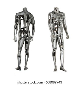 Front and back side of a tall, standing, male chrome colored plastic mannequin or dummy without a head used primarily for merchandising store window displays to market clothes and accessories.