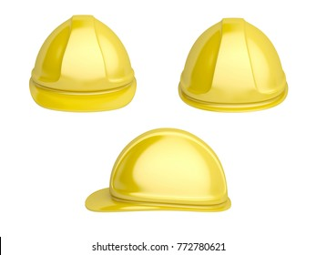 Front, back and side view of yellow safety helmet, 3D illustration