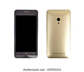front and back smart phone with golden case cover and camera led flashlight isolated