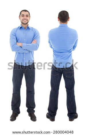 79f5f43018b front and back view of arabic business man in blue shirt isolated on white  background