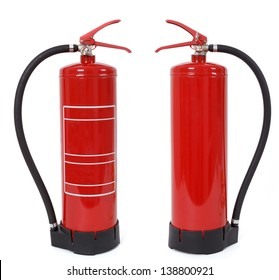 front and back view of fire extinguisher isolated on white