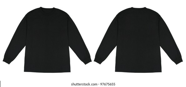 Front and Back View of Long Sleeve Black Knit Tshirt