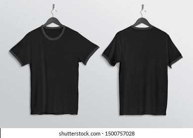 Front back view of plan black ringer t shirt mockup hanging on wall