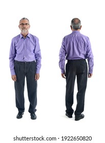 front and back view of same man on white background