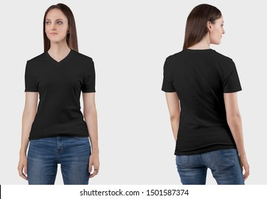 Front and back view side of female model wearing black plan v neck t shirt