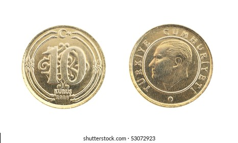 front and back view of a turkish 10 kurus coin on a white background